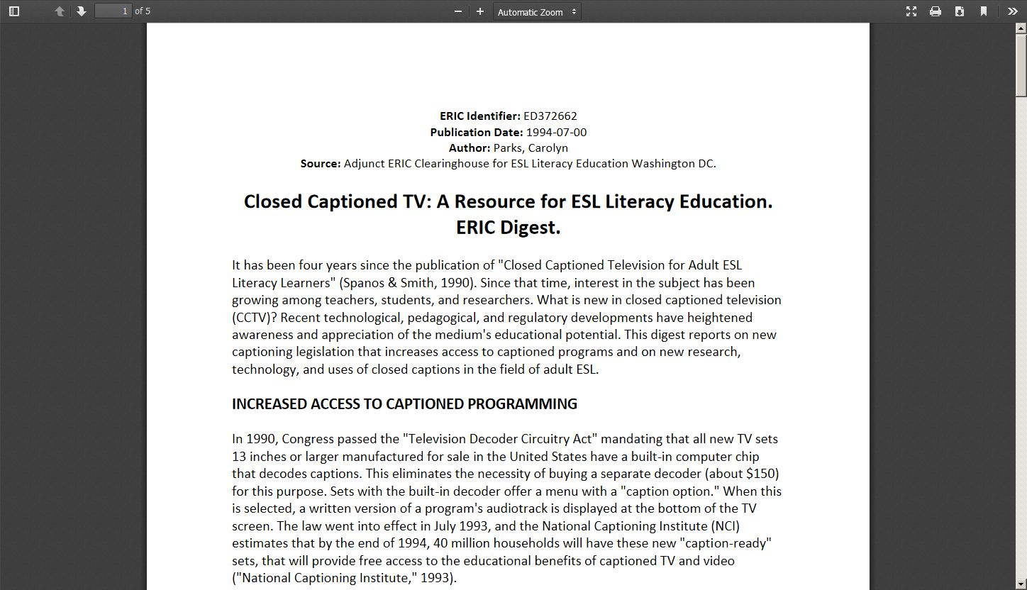 Closed Captioned TV: A Resource for ESL Literacy Education