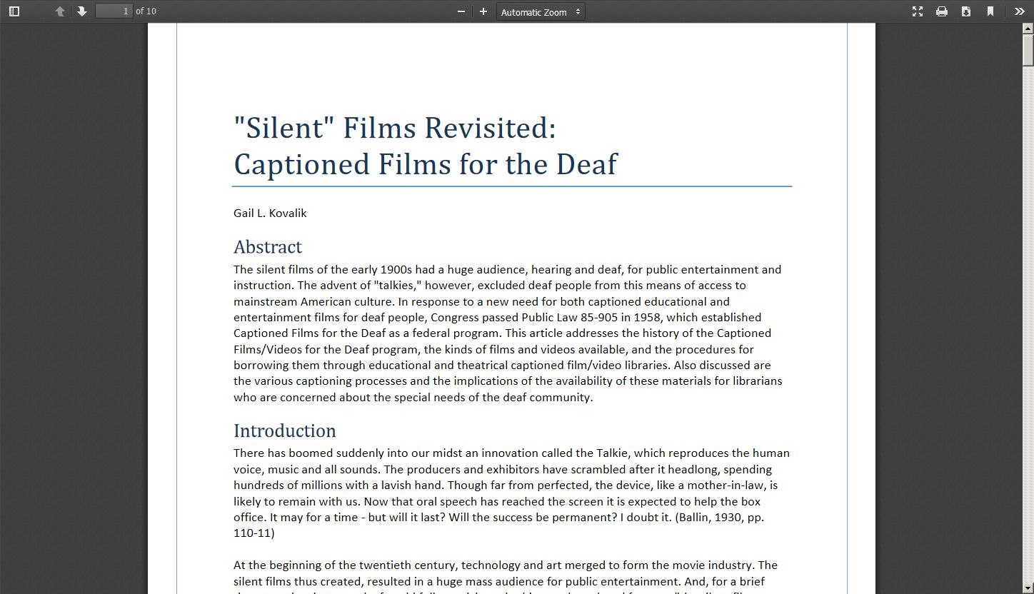 """Silent Films"" Revisited: Captioned Films for the Deaf"