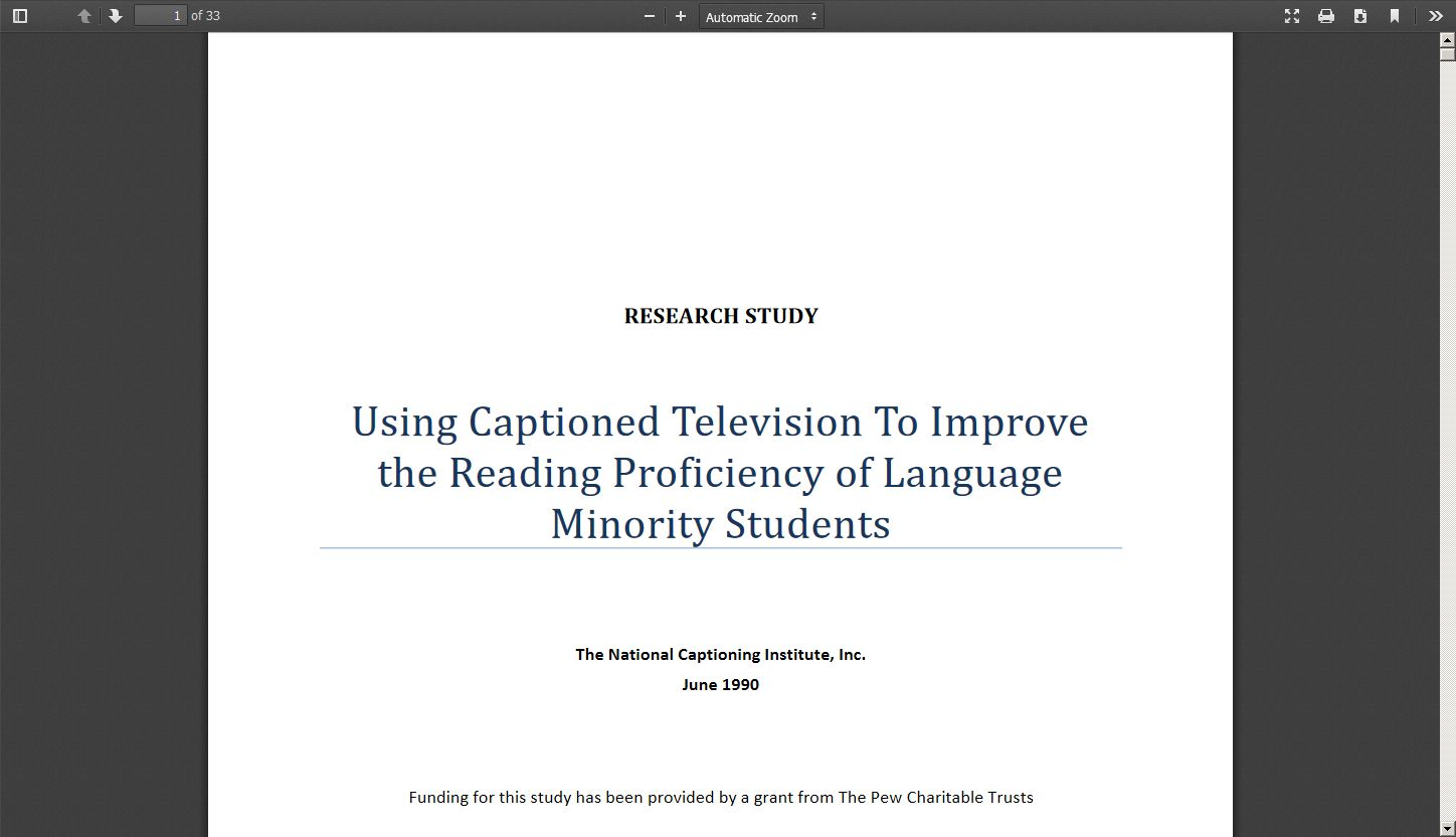 Using Captioned Television to Improve the Reading Proficiency of Language Minority Students