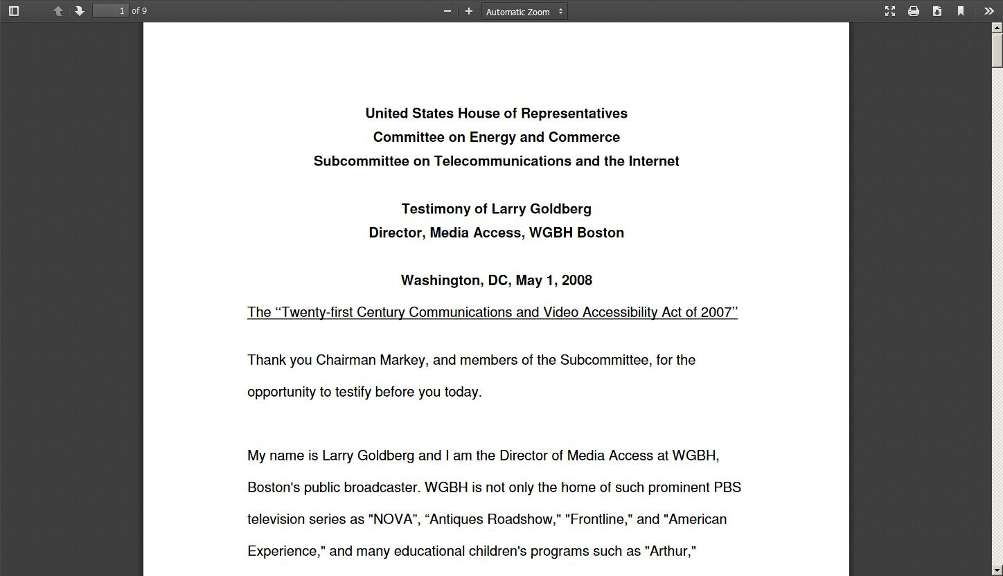 Subcommittee on Telecommunications and the Internet 2008
