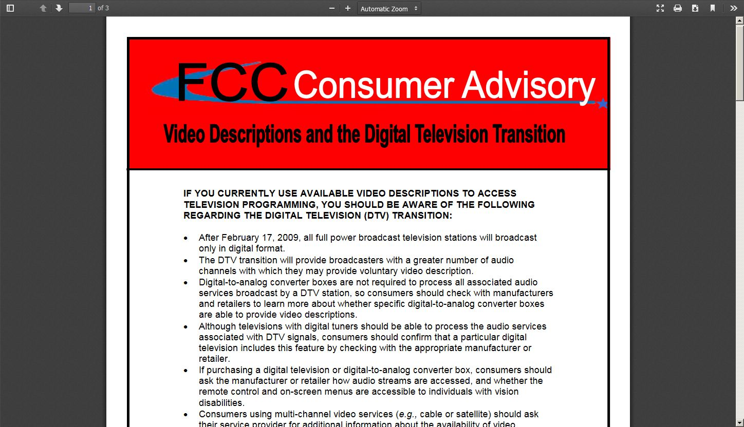 Video Description and the Digital Television Transition