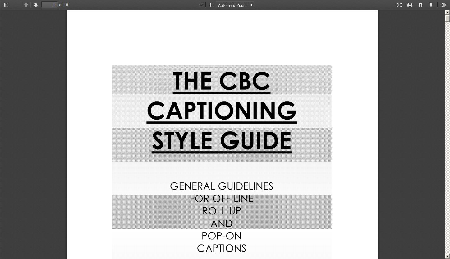 The CBC Captioning Style Guide, 2003