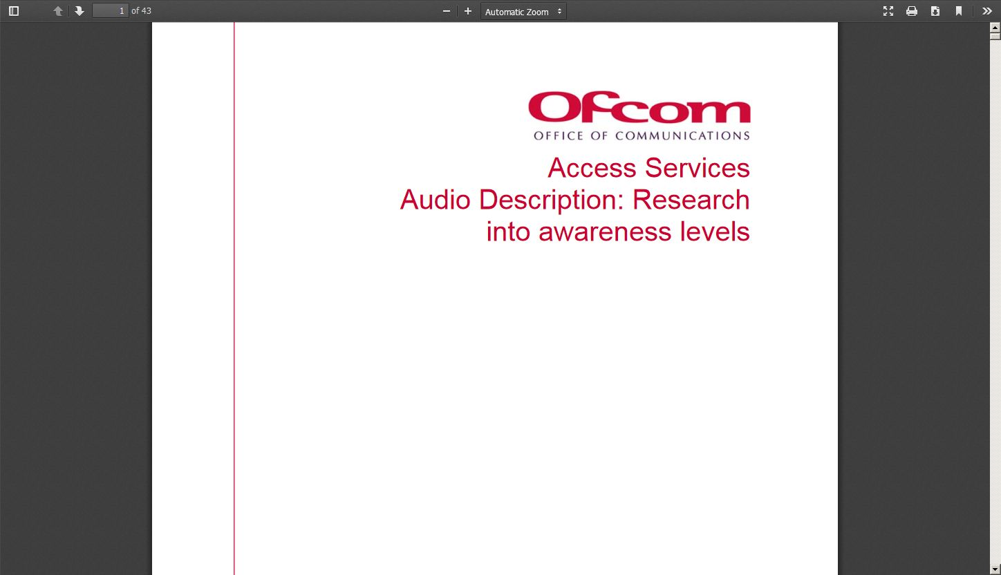 Audio Description: Research Into Awareness Levels