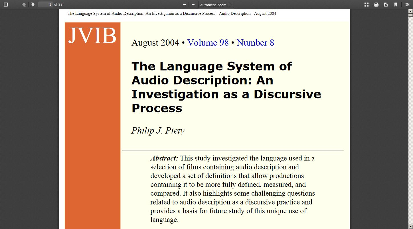 The Language System of Audio Description: An Investigation as a Discursive Process
