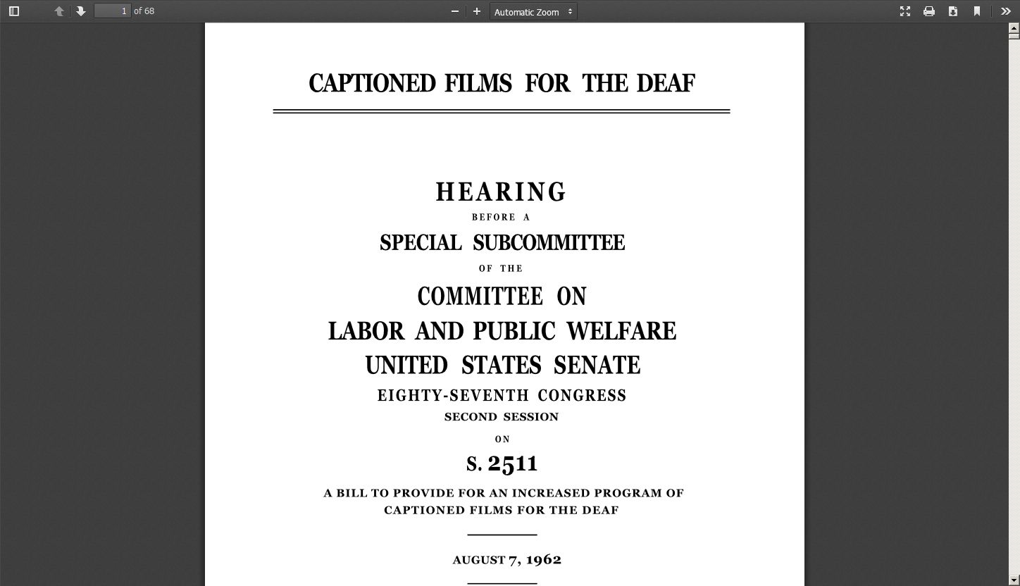 Captioned Films for the Deaf: Hearing Before a Special Subcommittee of the Committee on Labor and Public Welfare