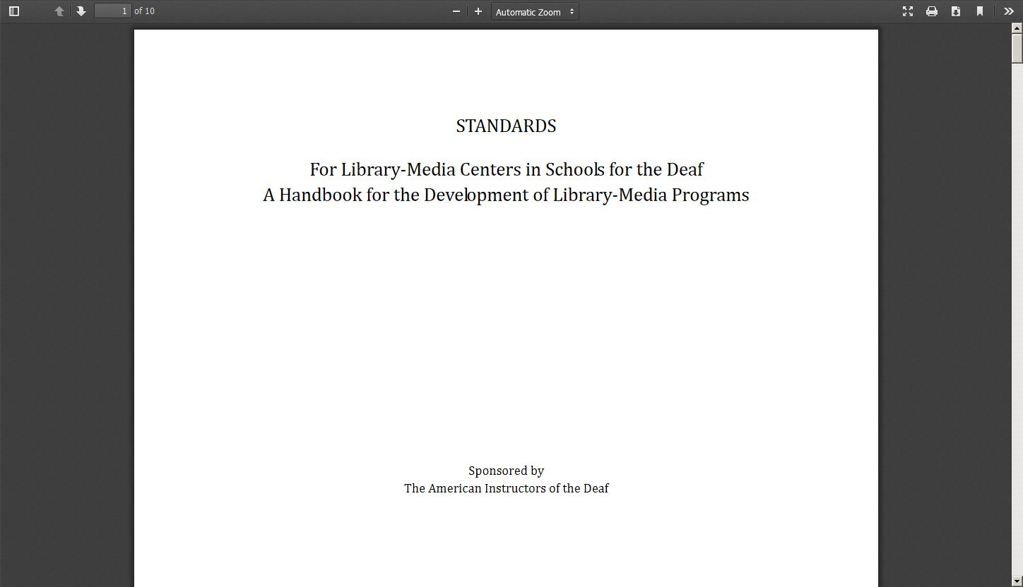 Standards for Library Media Centers in Schools for the Deaf: A Handbook for the Development of Library Media Programs