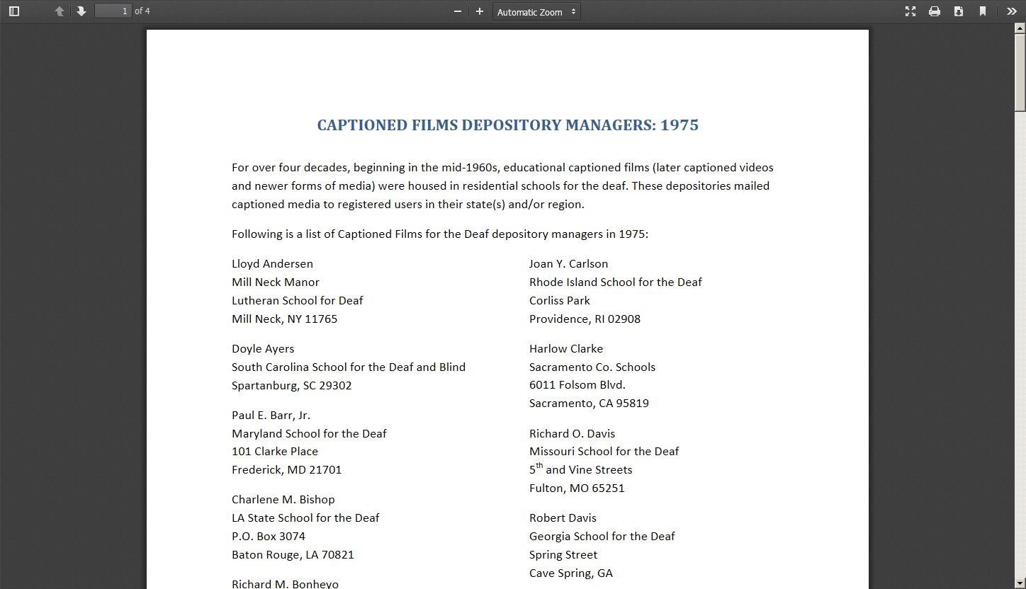 Captioned Films Depository Managers: 1975