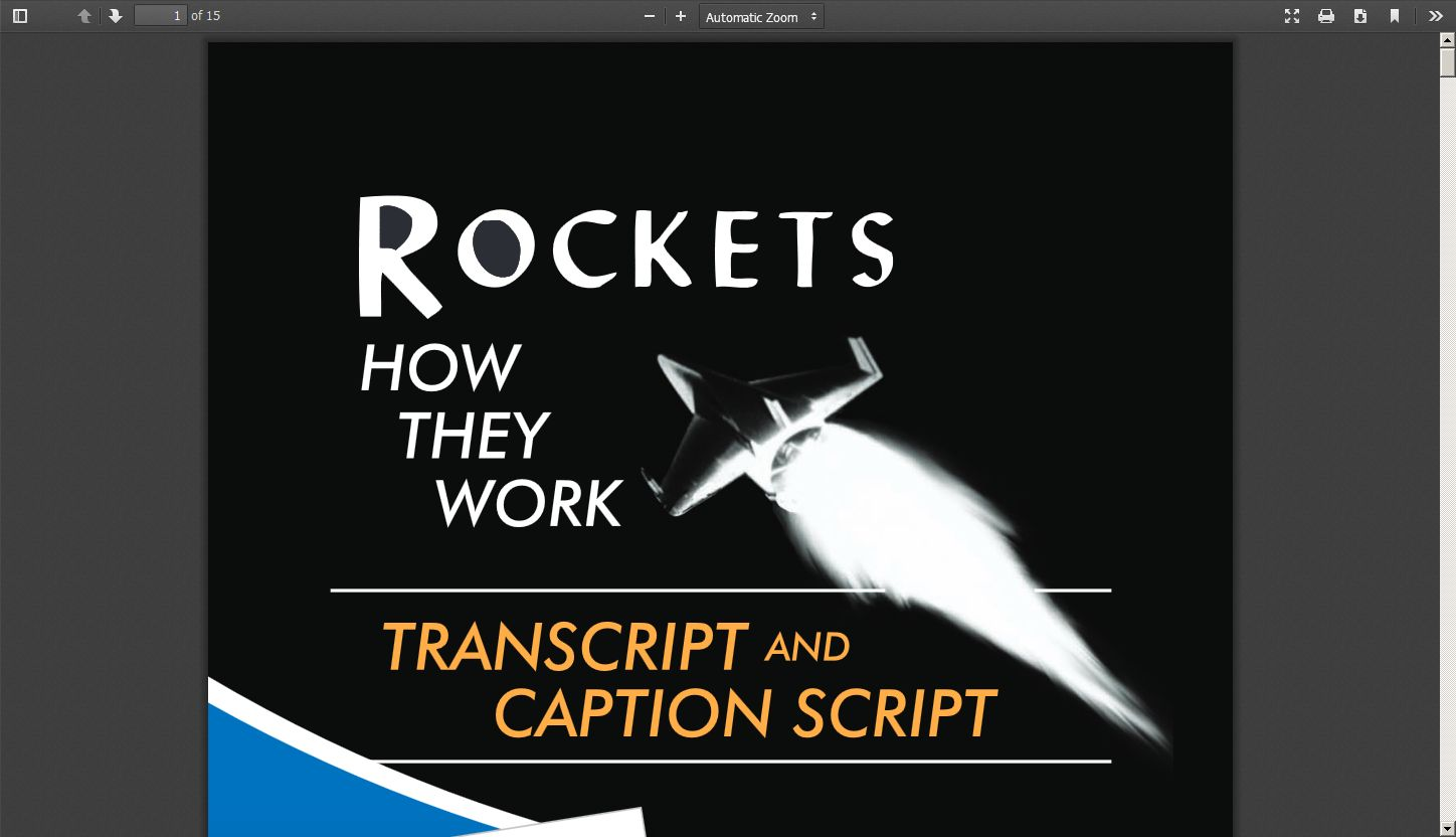 """Rockets: How They Work""—Transcript and Caption Script"