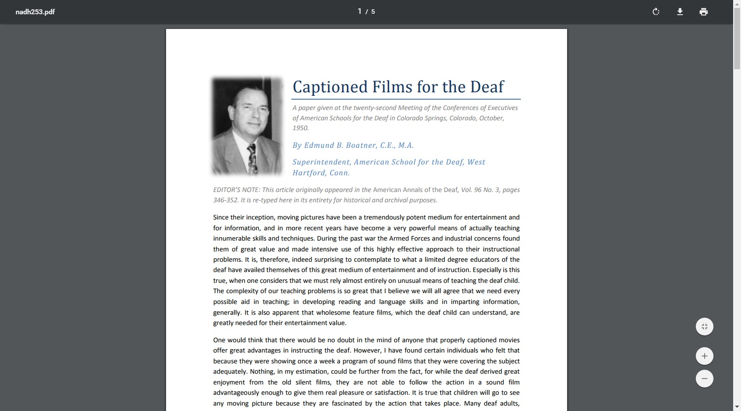Captioned Films for the Deaf