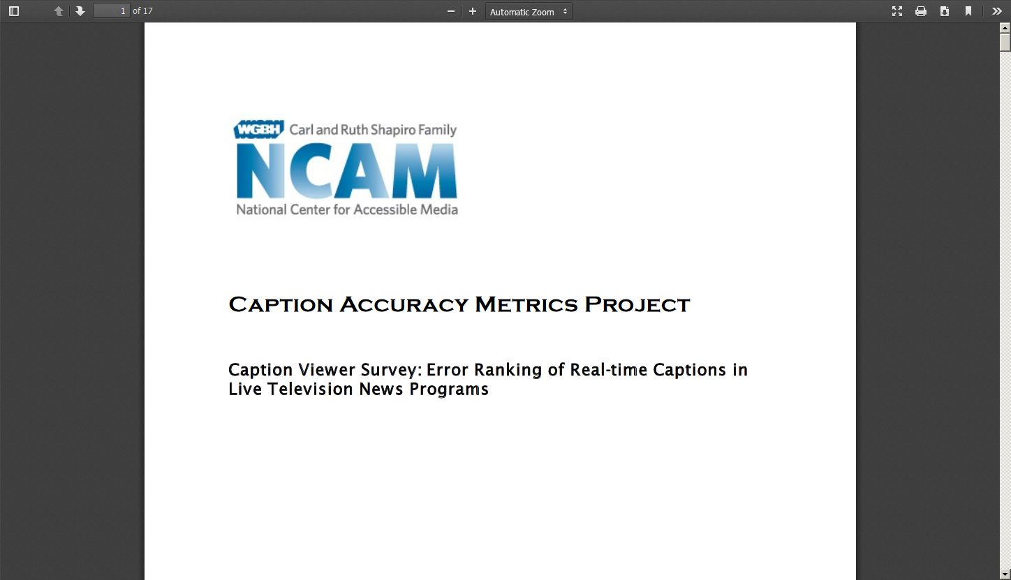 Caption Viewer Survey: Error Ranking of Real Time Captions in Live Television News