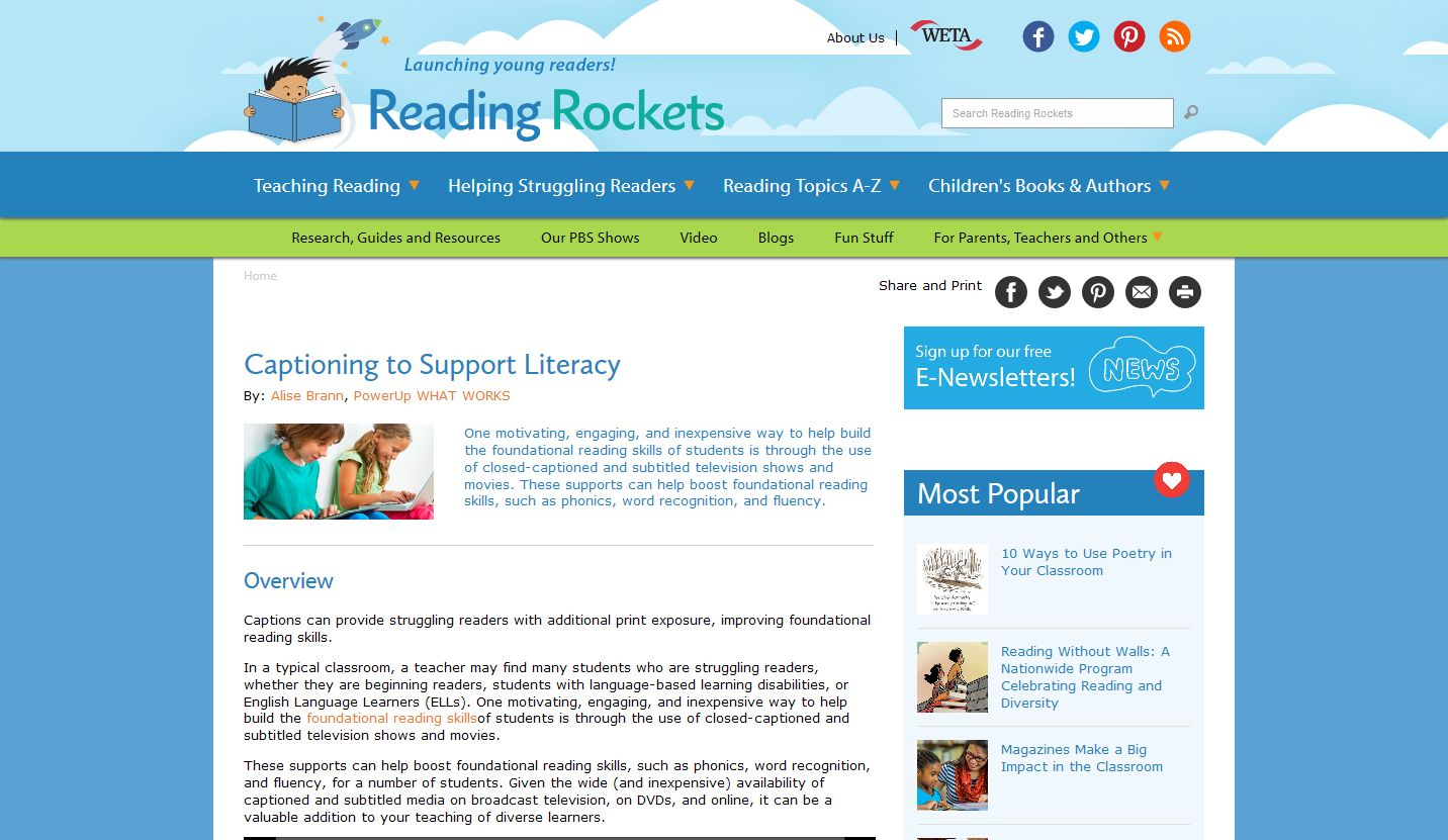 Captioned Media: Literacy Support for Diverse Learners