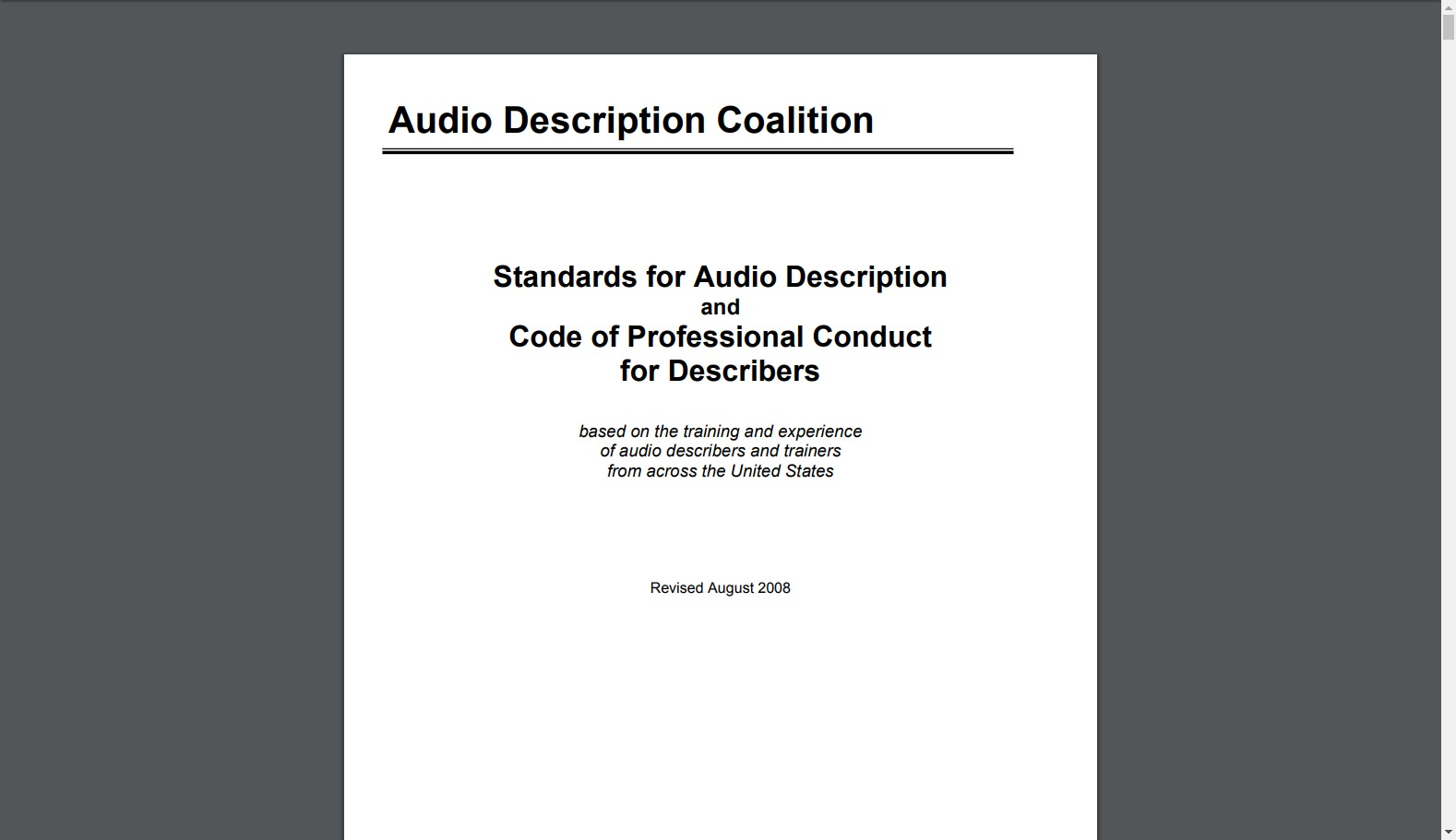 Standard for Audio Description and Code of Conduct for Describers