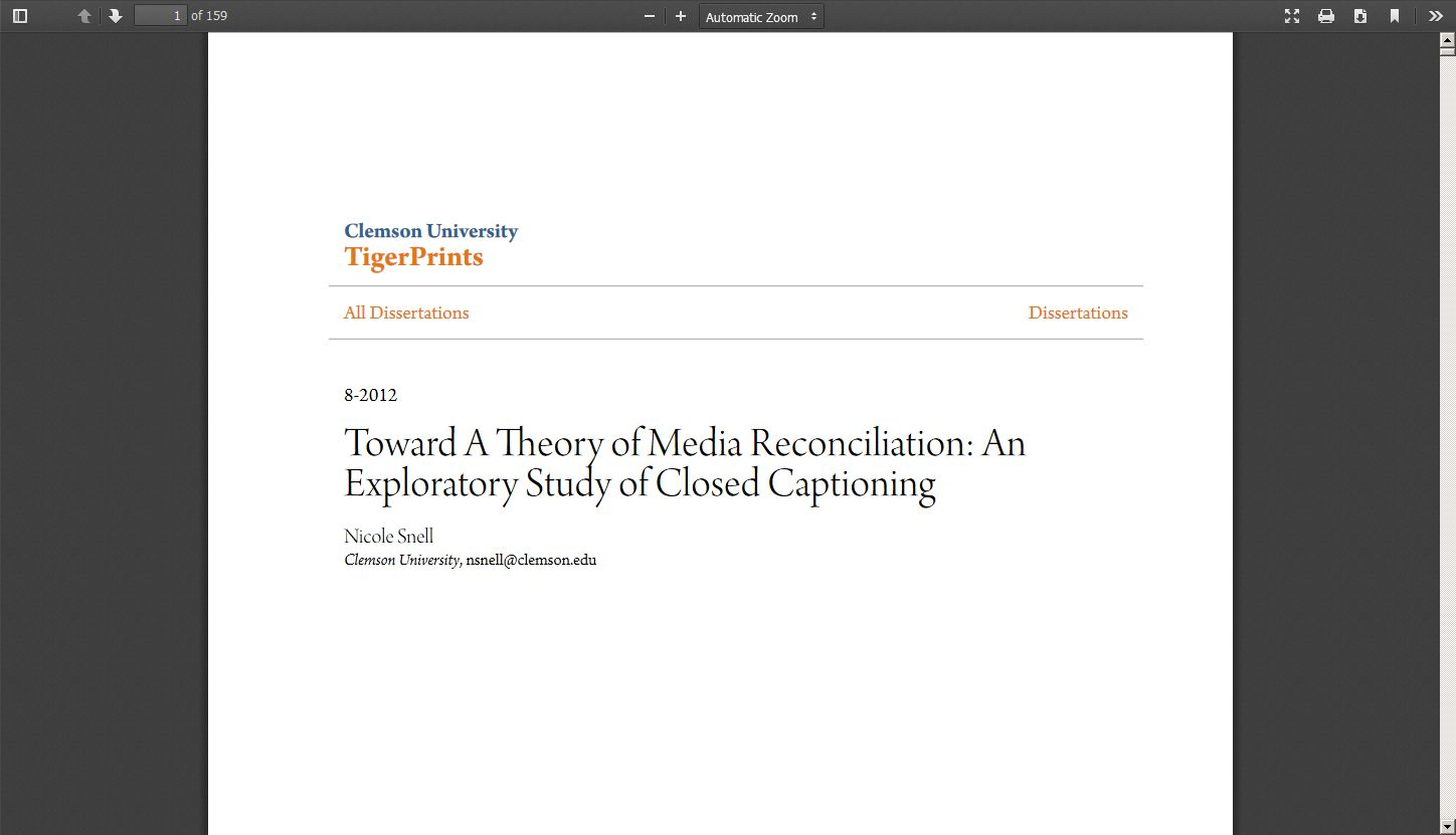 Toward a Theory of Media Reconciliation: An Exploratory Study of Closed Captioning