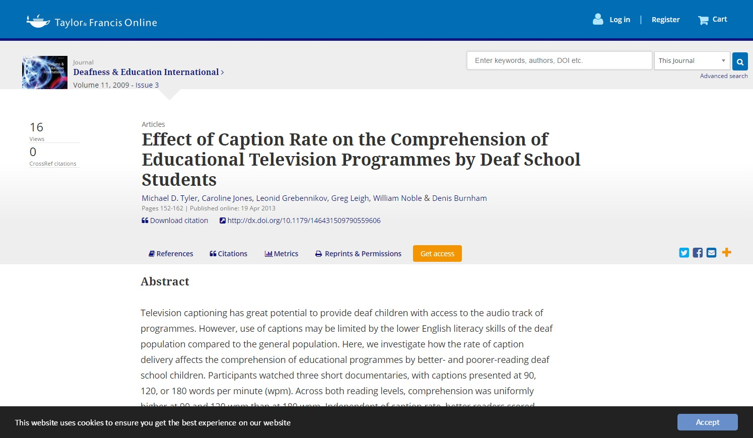 Effect of Caption Rate on the Comprehension of Educational Television Programmes by Deaf School Students