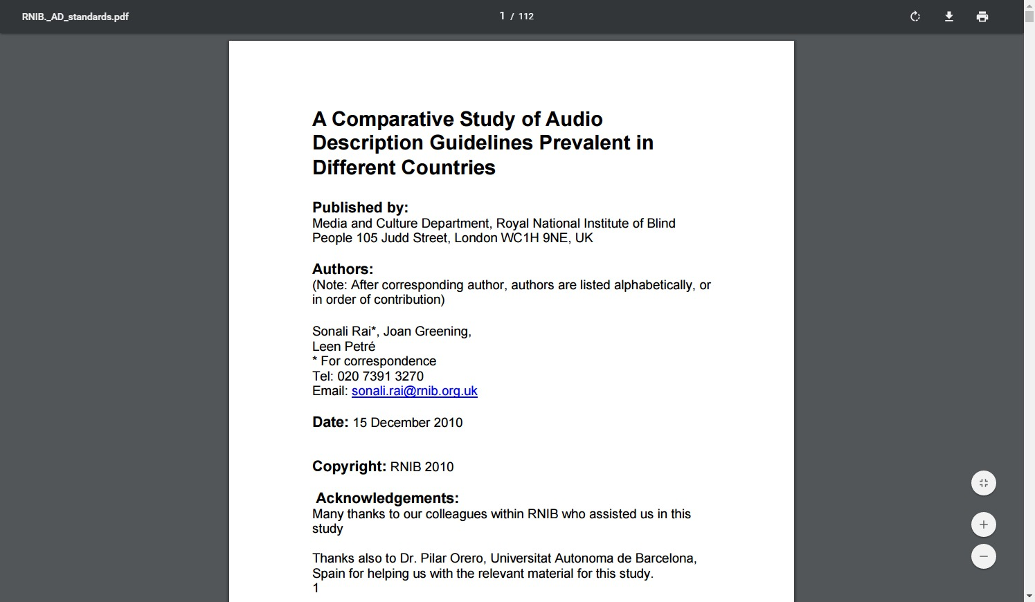 A Comparative Study of Audio Description Guidelines Prevalent in Different Countries