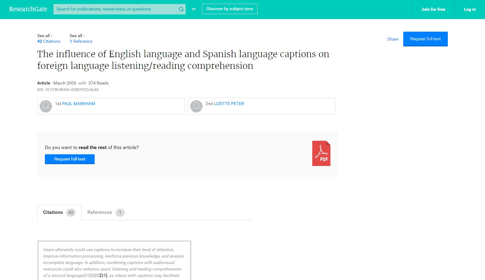 The Influence of English Language and Spanish Language Captions on Foreign Language Listening/Reading Comprehension