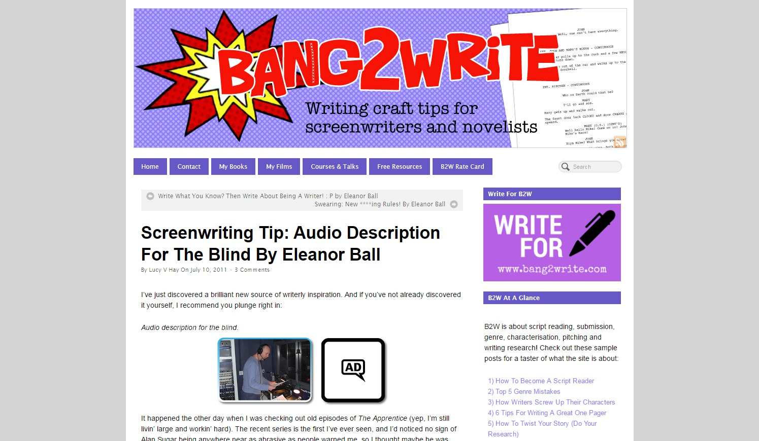 Screenwriting Tip: Audio Description for the Blind By Eleanor Ball