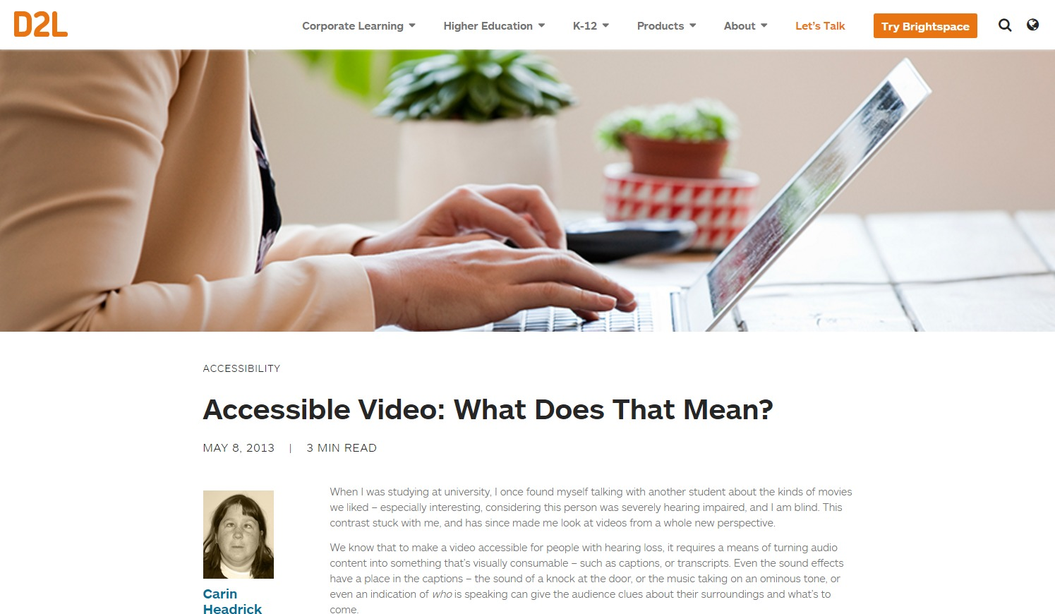 Accessible Video: What Does that Mean?