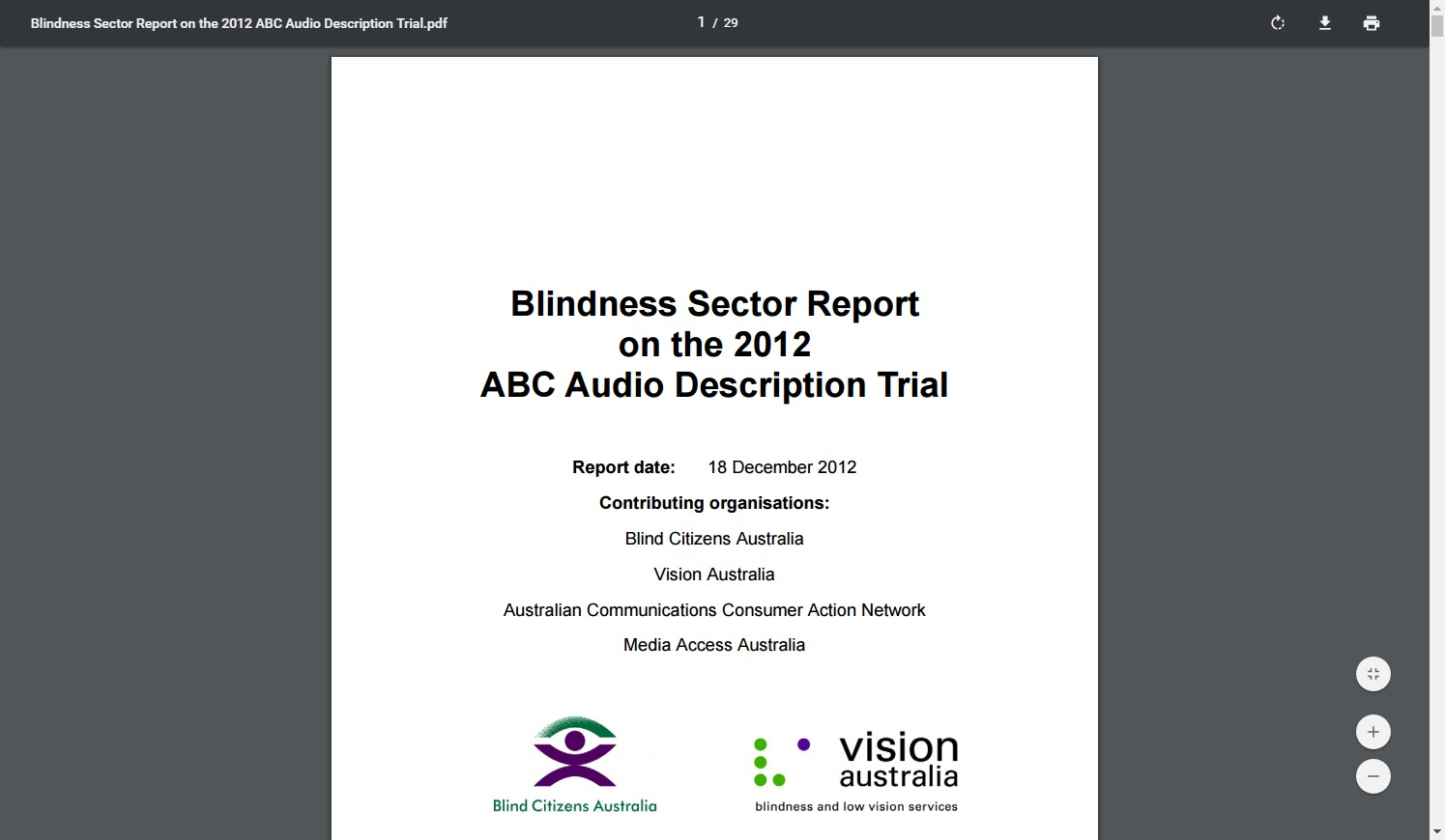 Blindness Sector Report on the 2012 ABC Audio Description Trial