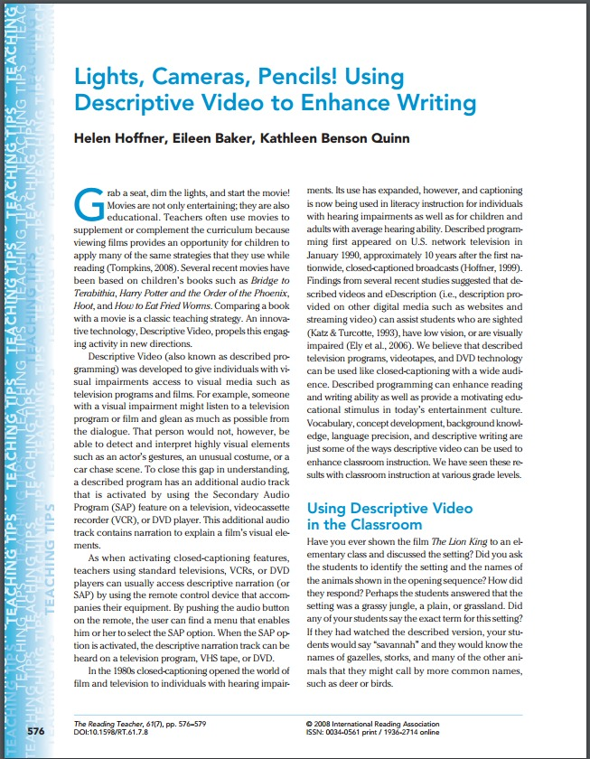 Lights, Cameras, Pencils! Using Descriptive Video to Enhance Writing