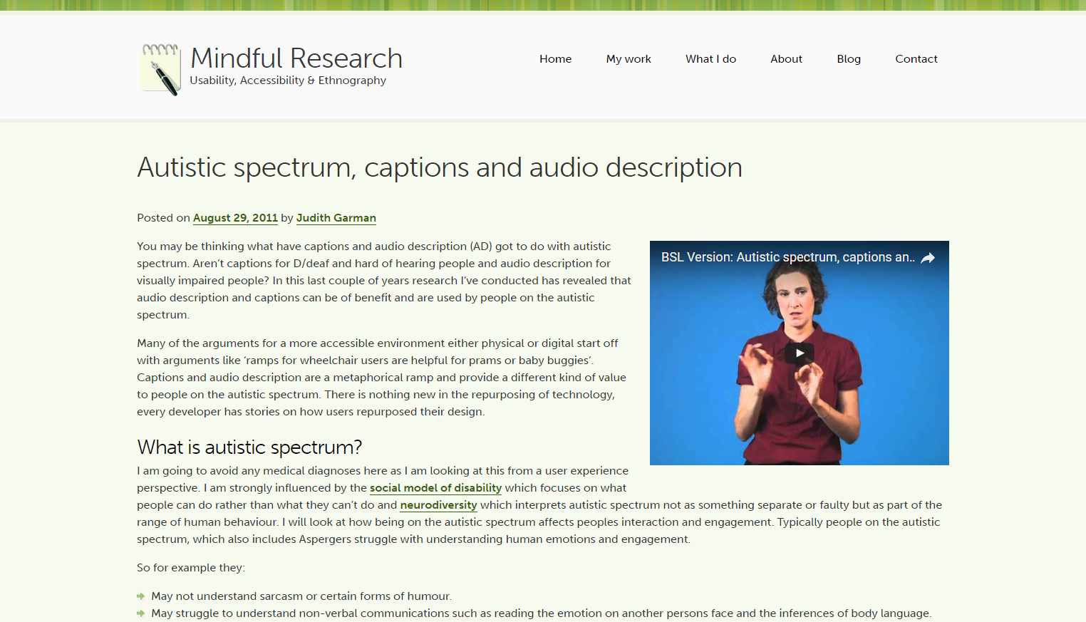 Autistic Spectrum, Captions and Audio Description