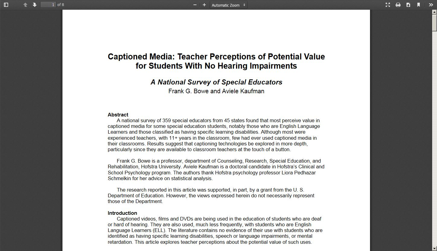 Captioned Media: Teacher Perceptions of Potential Value for Students with No Hearing Impairments
