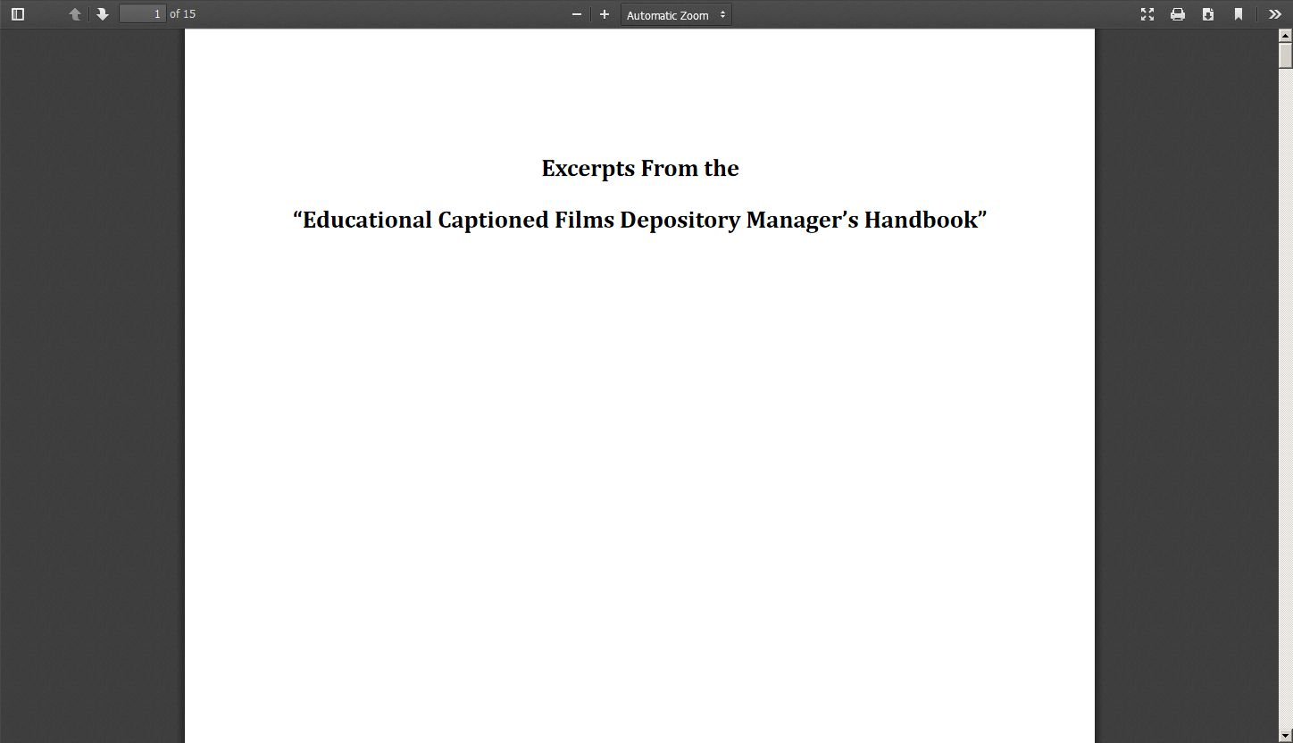 "Excerpts from the ""Educational Captioned Films Depository Manager's Handbook"""