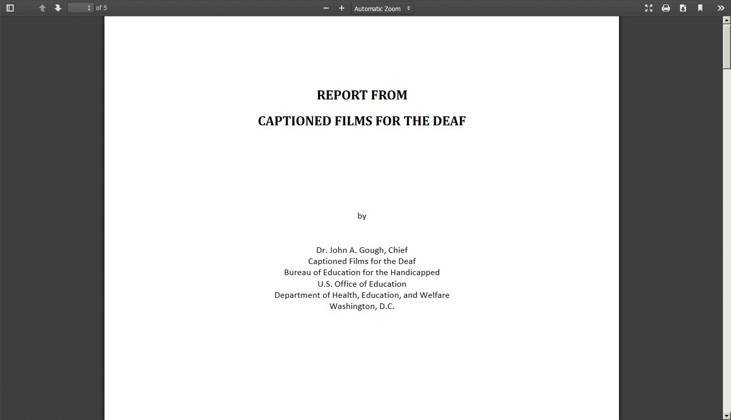 Report from Captioned Films for the Deaf