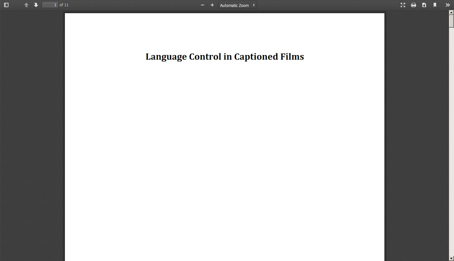 Language Control in Captioned Films