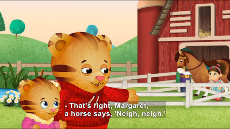 Still image from Daniel Tiger's Neighborhood: Daniel and Margaret Visit the Farm / Fireflies and Fireworks