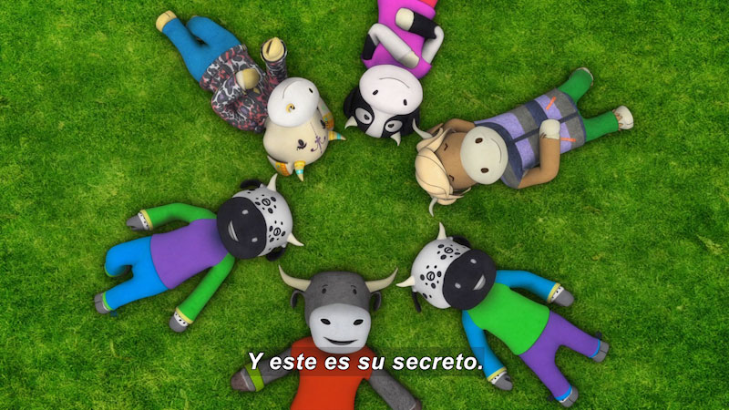 Still image from Ooommm Mmmooo Yoga For Children: Inseparable Pati & Ani--Double Relax (Spanish)