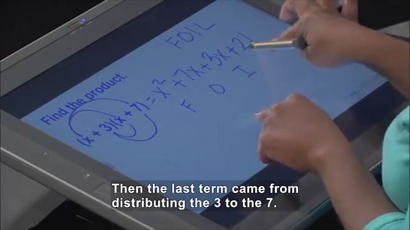 Still image from Welcome to Algebra I: Products of a Binomial and a Trinomial