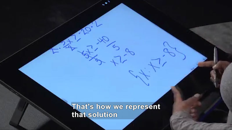 Still image from Welcome to Algebra I: Solving Multistep Linear Inequalities Algebraically