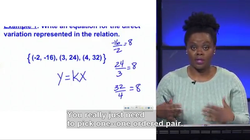 Still image from Welcome to Algebra I: Representing a Direct Variation Algebraically and Graphically