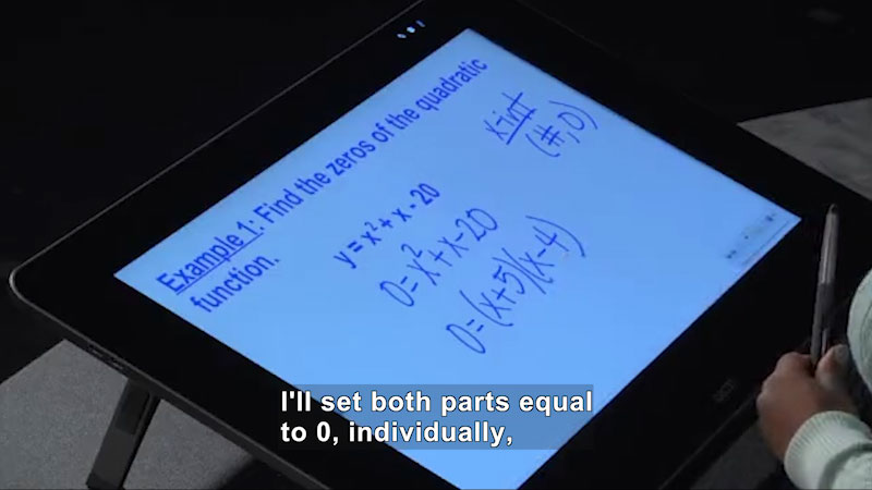 Still image from Welcome to Algebra I: Finding Zeros of Quadratic Functions