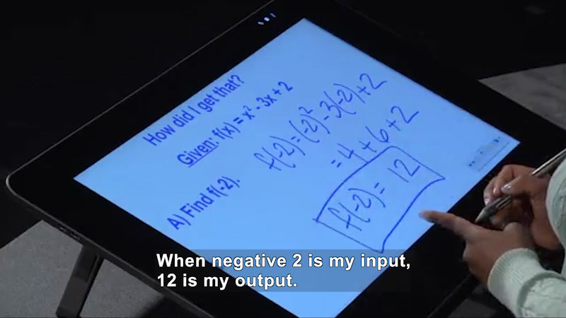 Still image from Welcome to Algebra I: Finding Values for Elements in the Domain of Quadratic Functions