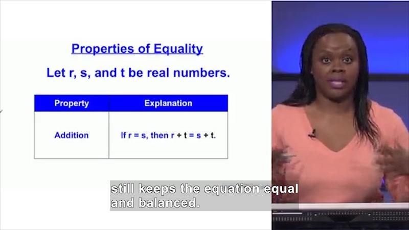 Still image from Welcome to Algebra I: Properties of Equality