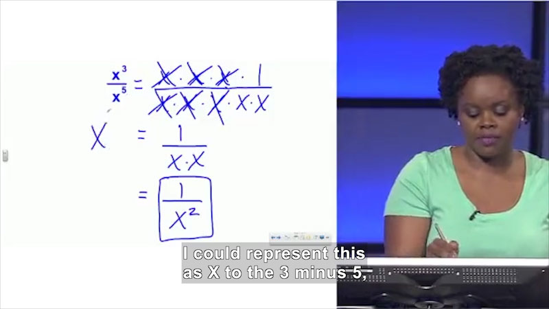 Still image from Welcome to Algebra I: Negative Exponents
