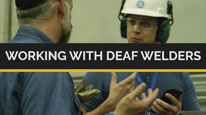 Still image from Deaf and Hard-of-Hearing STEM Professionals: Working With Deaf Welders