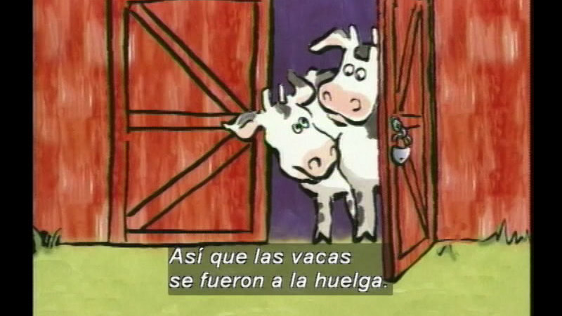 Still image from Click, Clack, Moo: Cows That Type (Spanish)