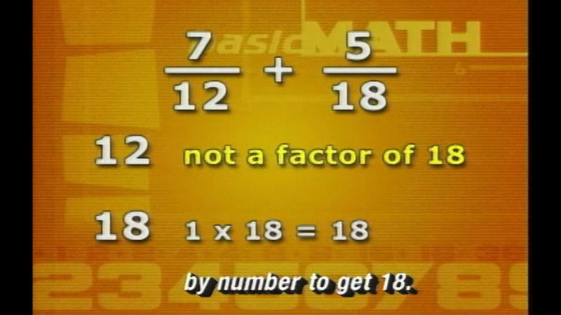 Still image from Basic Math: Adding And Subtracting Fractions