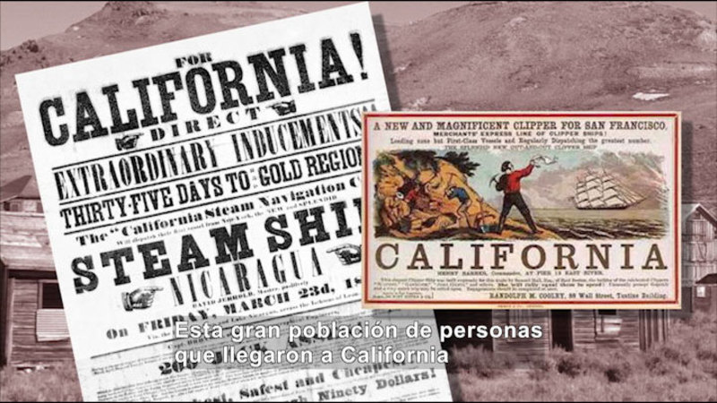 Still image from Social Studies Video Vocab: Gold Rush (Spanish)