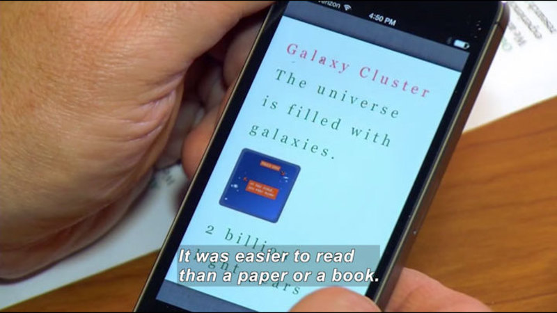 Still image from Science Nation: Smartphone Beats Paper for Some With Dyslexia
