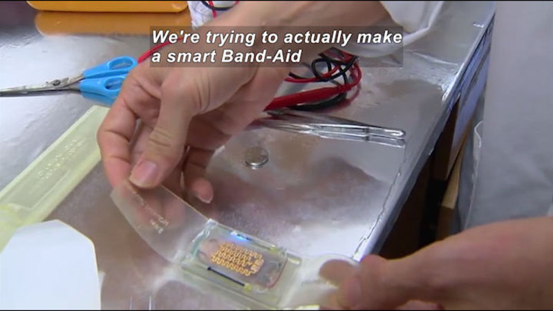 Still image from Science Naiton: New Smart Bandages for Burn Victims and Others