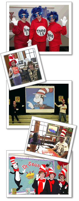a series of photographs of teachers and students wearing Dr. Seuss-themed costumes and enjoying books or watching movies with captions turned on