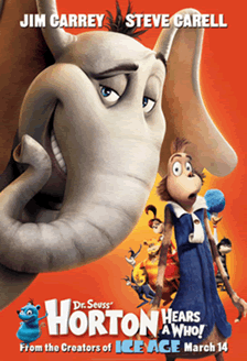 a poster from the film horton hears a who displaying a prominent computer animated elephant and several other creatures